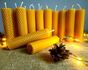 """5"""" Pillar Beeswax Candles / 100% Pure Beeswax Candles / Rolled Beeswax Plate / Beewax Taper Candles / Handcrafted Beeswax Pillar Candles"""