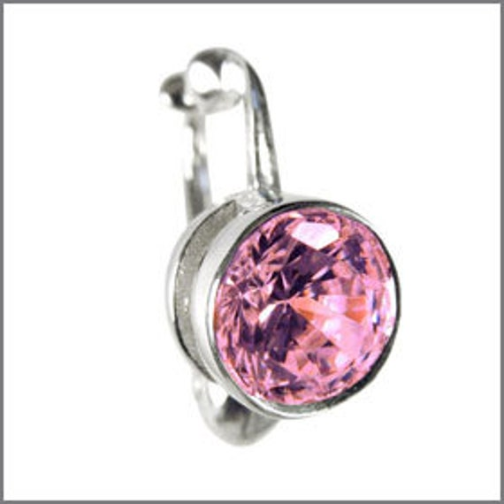 Non Piercing Clip on Navel Bar Fake Belly Button Ring Jewelry Clear Jewelled