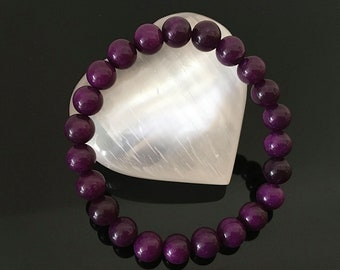South African Sugilite Beaded Gemstone Bracelet | 8mm | Dreams | Love |  Spiritual Protection | Crystal Healing | Reiki Infused