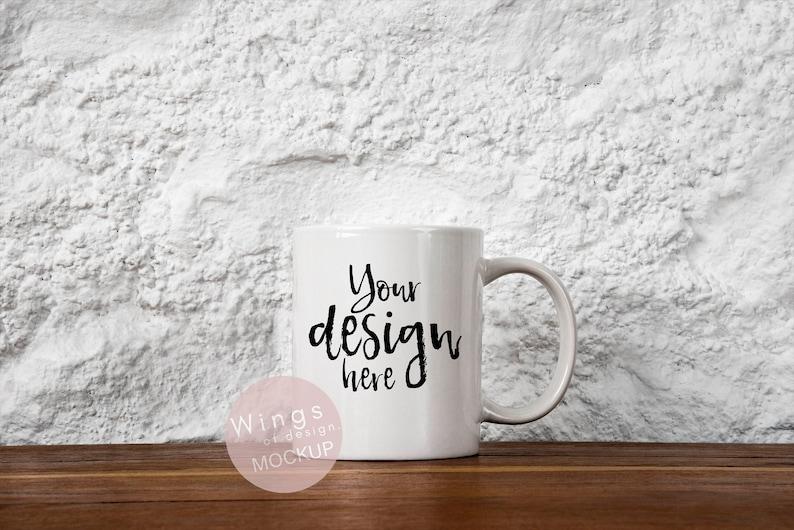 Plain Blank White Mug Mockup Coffee Cup Digital Template Scandinavian Theme Rustic White Stone Wall JPEG PSD Files