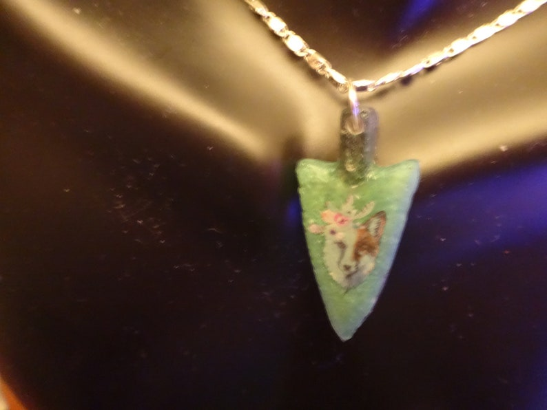 Green Wolf Arrow Necklace