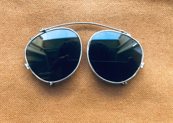 Vintage 1940's French Clip-On Sunglasses in Silver