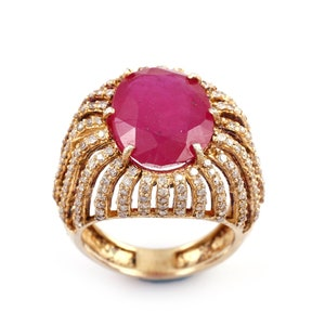 Handmade Ring Yellow Sapphire Ring 18Kt Gold Plated Sterling Silver Statement Ring Wedding Ring Ruby Ring Vintage Gift For Wife /& Mom