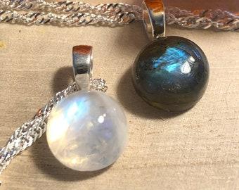 Moonstone or Labradorite small pendants
