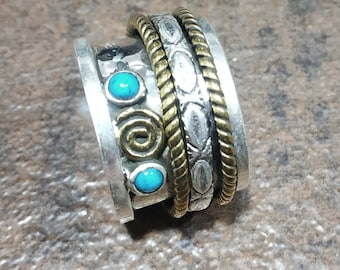 925 Silver Meditation Ring with triple Mixed Metal,Spinner Ring,Meditation Ring Wish Ring Hammer Ring,Anxiety Ring Fidget Ring,Worry Ring