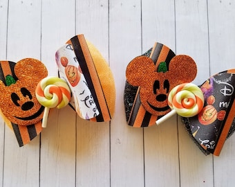 Ghost /& Pumpkin Mickey Mouse Halloween Hair Bows Disney Clips Or Bobbles