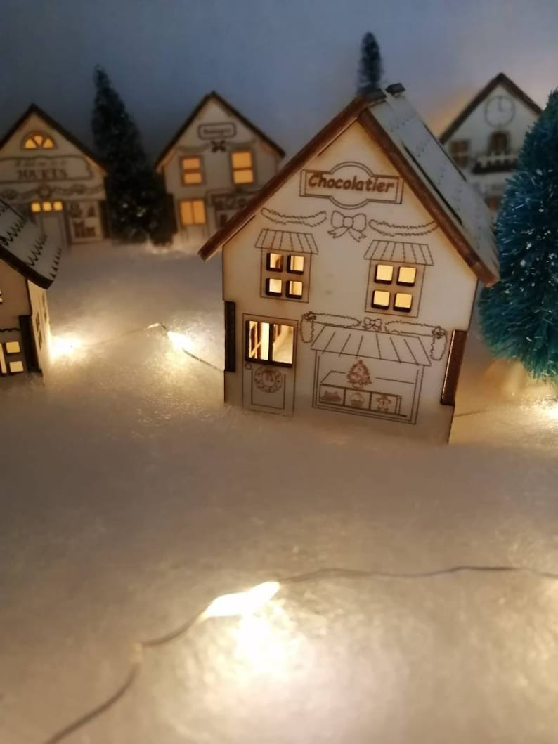 Wooden house styled Shops Christmas village