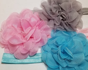 Newborn Baby Infant Girls mini triplet flower Elastic skinny Headband 0-12 month
