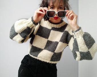 grunge clothing knit sweater chunky sweater hand knit sweater  chess sweater , 90s clothing