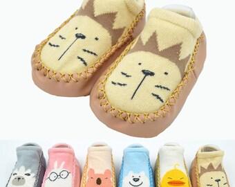 Baby Toddler Kids Non-slip 5 Pairs  Socks Bear Design