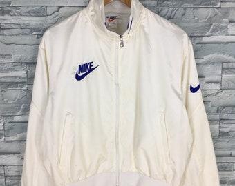3f0f09844 Vintage 90's NIKE Jacket Small Nike Swoosh Streetwear Track Top Jacket Nike  Air Sports Athletic White Training Windbreaker Jacket Size S