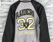 OAKLAND RAIDERS Varsity Jacket Large Vintage 90 39 s Nfl Team American Football Rugby Raiders Hip Hop Gray Bomber Stadium Jacket Size L
