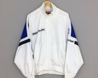 WILSON Windbreaker Jacket Medium Unisex Vintage 90/'s Wilson SpellOut SideTape Zipper Light Sweater Wilson Activewear White Jacket Size M