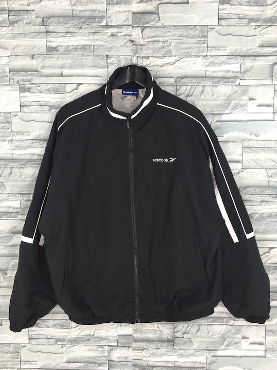 Reebok Sports Windbreaker Jacket Large Black Vinta