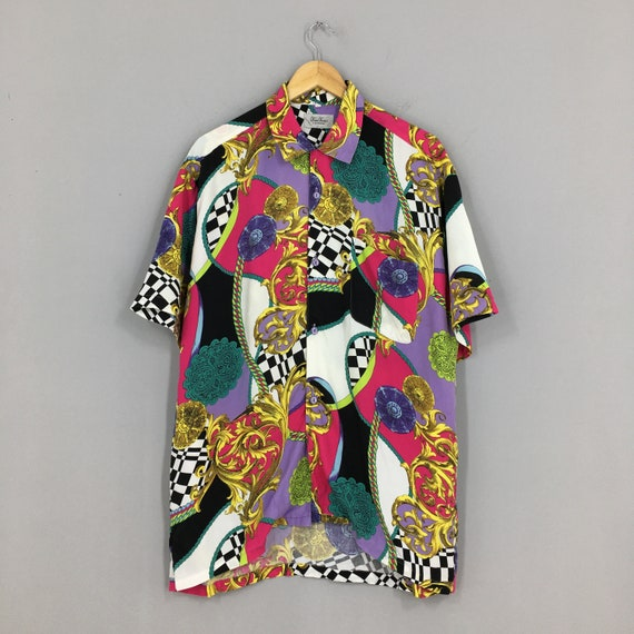 Vintage Baroque Gold Chain Shirt Large Designer No