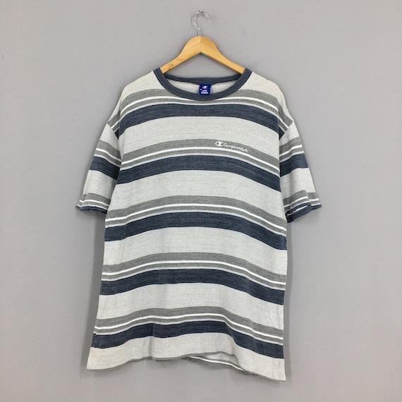Vintage Champion Striped Tshirt Large 80's Champio