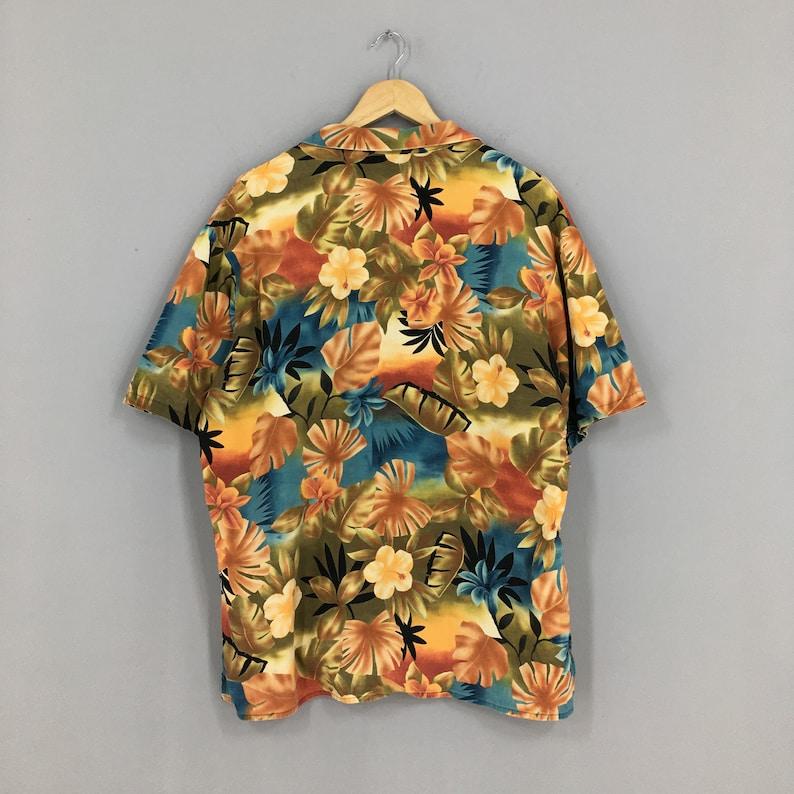 Vintage Hawaiian Floral Shirt Large Hawaii Sailing Beach Honolulu Guam Beach Party Surf Cotton Button Up Size L