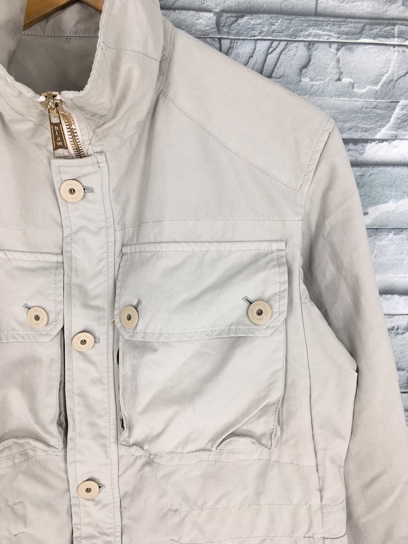 Vintage Tactical Utility Jacket Medium 1990/'s Style Cargo Jacket Coat Outerwear Designer Multi Pocket Jeans Jacket Workers Size 48