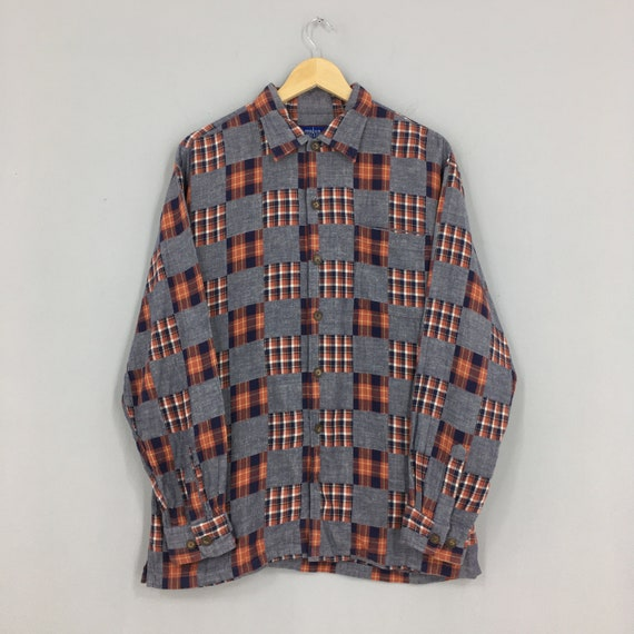 Vintage Patchwork Checkered Flannel Shirt Medium C