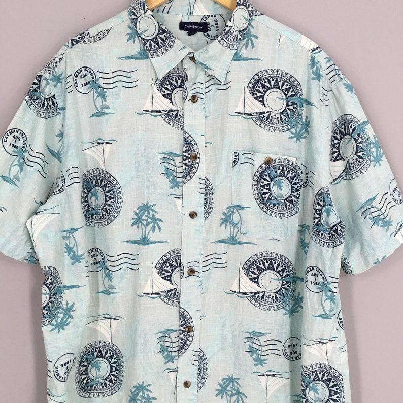 Hawaiian Cotton Shirt XLarge Vintage 90s Hawaii Honolulu Beach Surf Aloha Coconut Tree Beach Tropical Buttondown Size XL