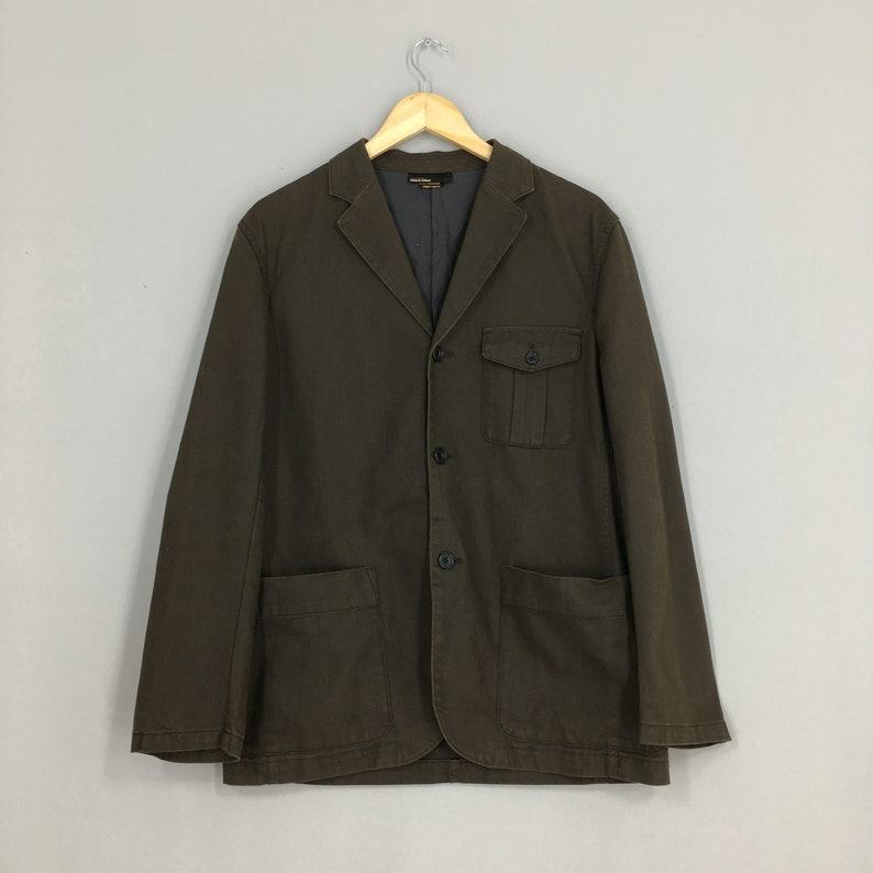 Vintage Comme Ca Commune Japan Coat Jacket Large 1990/'s Mens Work Olive Green Casual Blazer Buttons Jacket Size L
