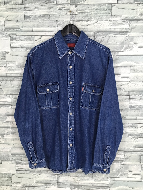 Vintage 80s Levis Strauss Denim Blue Shirt XLarge