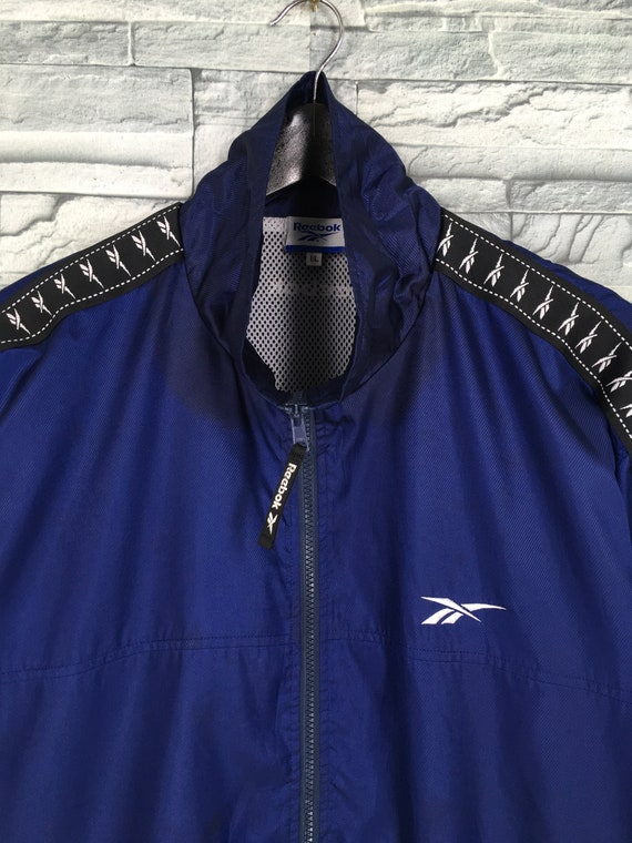 Reebok Sports Windbreaker Jacket Large Blue Vinta… - image 2