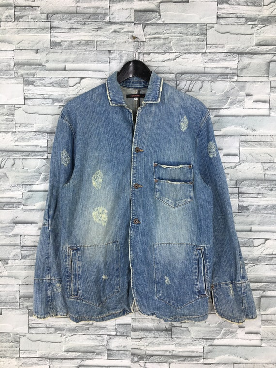 Exhibitionist Distressed Jeans Jacket Large Vintag
