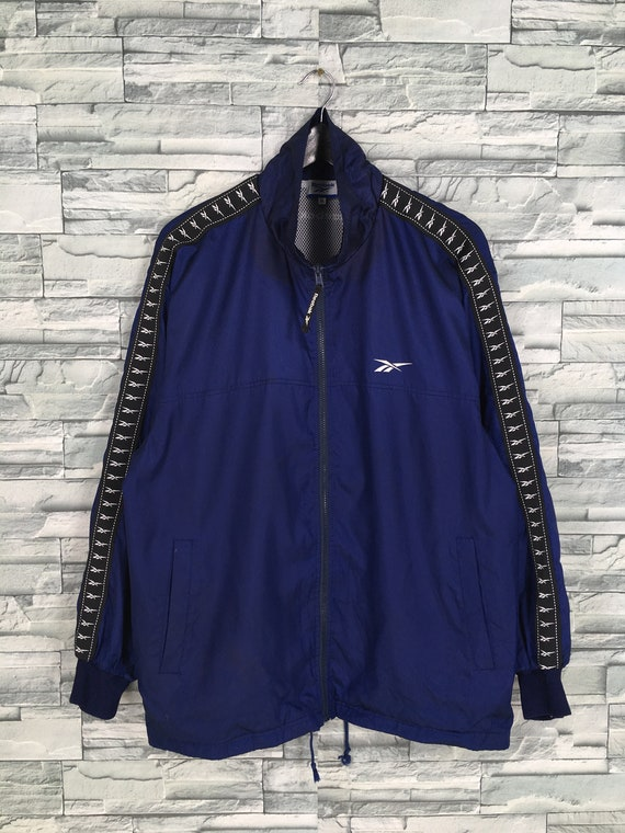 Reebok Sports Windbreaker Jacket Large Blue Vinta… - image 1