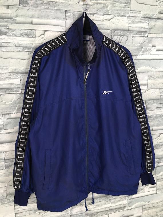 Reebok Sports Windbreaker Jacket Large Blue Vinta… - image 5
