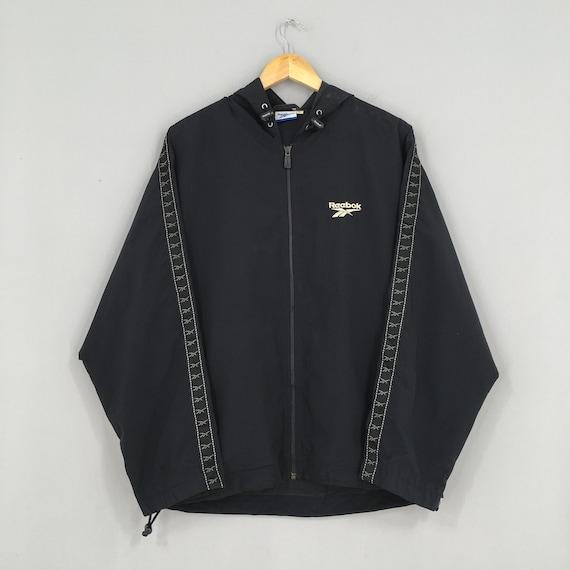 Reebok Sports Windbreaker Jacket Large Black Vinta