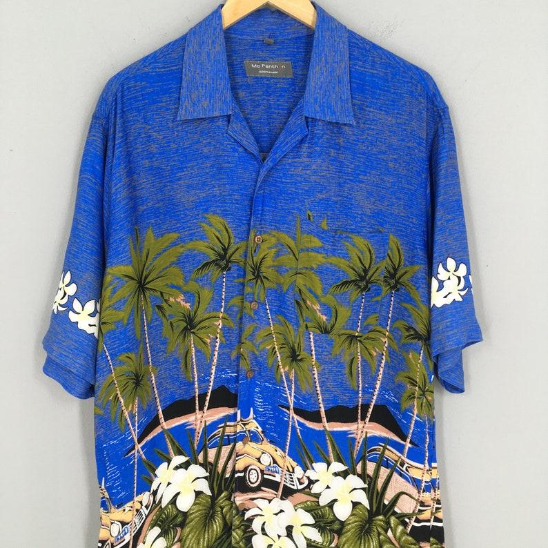 Vintage Hawaiian Aloha Tropical Viscose Rayon Shirt Large Coconut Tree Beach View Island Hawaii Classic Car Surf Buttondown Size L
