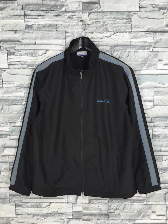 Reebok Sports Windbreaker Jacket Medium Black Vint