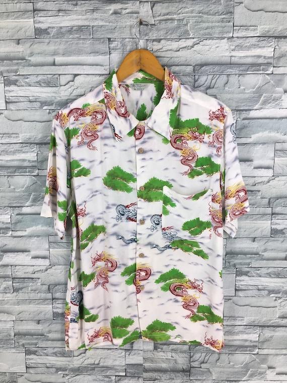 Vintage 90/'s SUKAJAN Dragon Oxfords Shirt Large Mens Hawaiian Japanese Souvenir Sukajan Style Okinawa Beachwear Button Up Shirt Size L