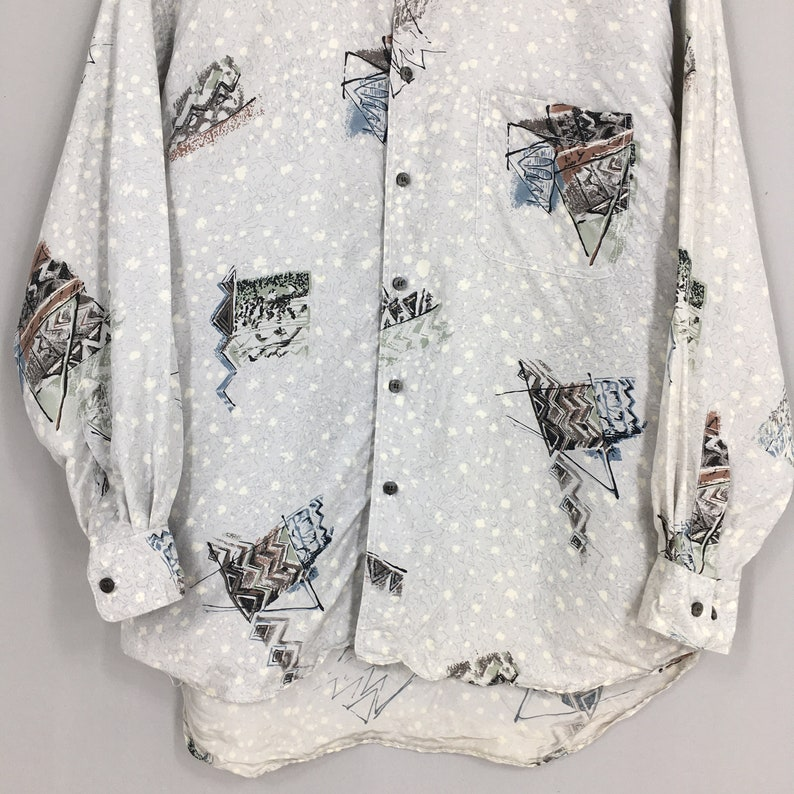 Vintage Abstract Pattern Men Silk Shirts Medium Vintage 80s Abstract Retro Psychedelics Casual Party Disco Buttondown Size M