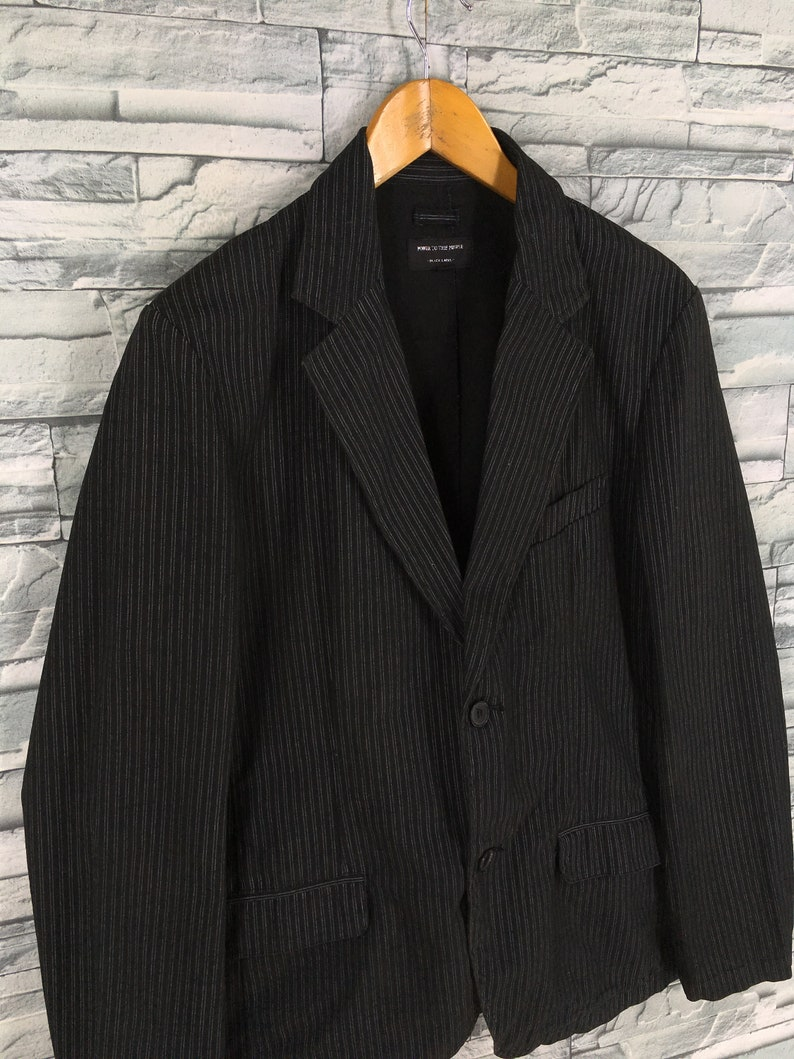 Vintage 90/'s Power To The People Blazer Jacket Large Japanese Workwear Style Casual Formal Coats Striped Coat Jeans Size L