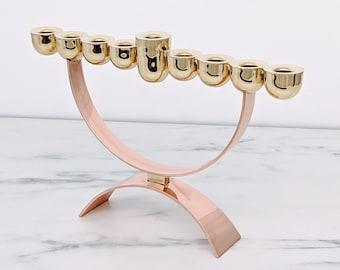 Hanukkah Menorah, Modern design Copper and Brass Menorah, Jewish Art, Modern Judaica, Home decor, Hanukkah gift from Israel, Custom Menorah