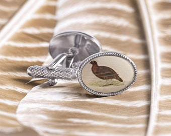 Black Grouse made from fine English pewter cuff link or tie slide or the set or stick pin code B40 bird birds