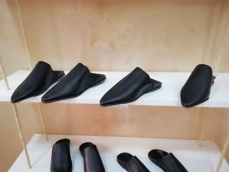 leather mens slippers gift for him grooms slippers mens slippers Moroccan men babouche black slippers fathers day gift.