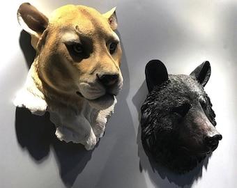 Animals Wall Decor Decorative Wall Resin Tiger Wolf Bear Lion Head Resin Decor