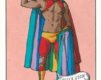 El Luchador. Queer, felix deon, lgbtq, Mexican, Loteria, Latinx, Felix d'Eon.