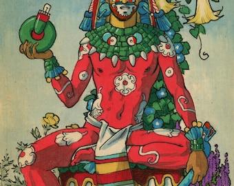 King of Jade. Xochipilli de Jade. Mexica, aztec, Prince of the Flowers, Happiness, Homosexual, Felix d'Eon.