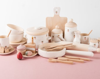 Wooden Play Kitchen Accessories - Wooden tea set - Wooden dishes set Strawberry - Wooden pan - Wooden Play Food - Wooden pot and pan
