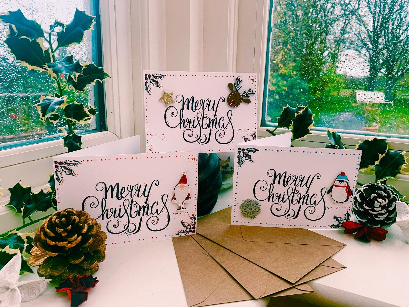 Handmade Calligraphy Christmas Cards