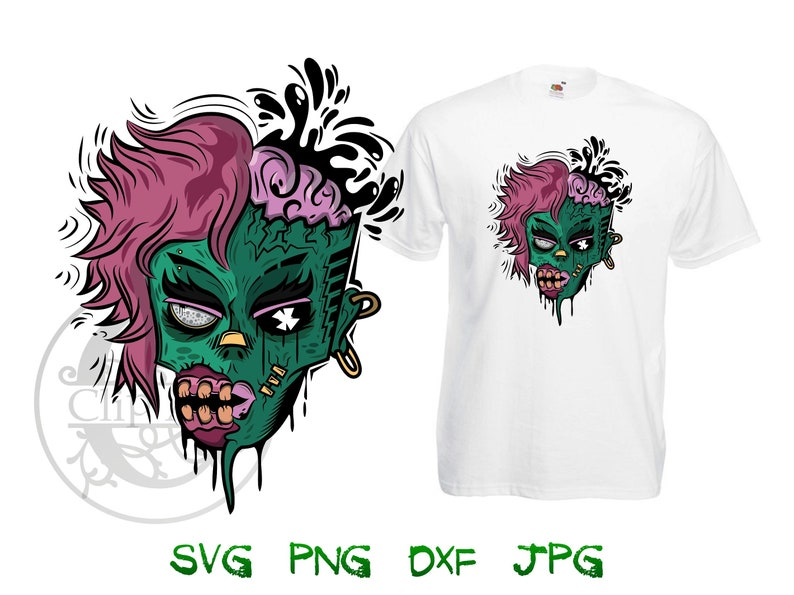 142b25e7261af Zombie Girl Woman Clipart Vector T-shirt Design Printable, iron on transfer  for shirts, sublimation print for shirt instant download