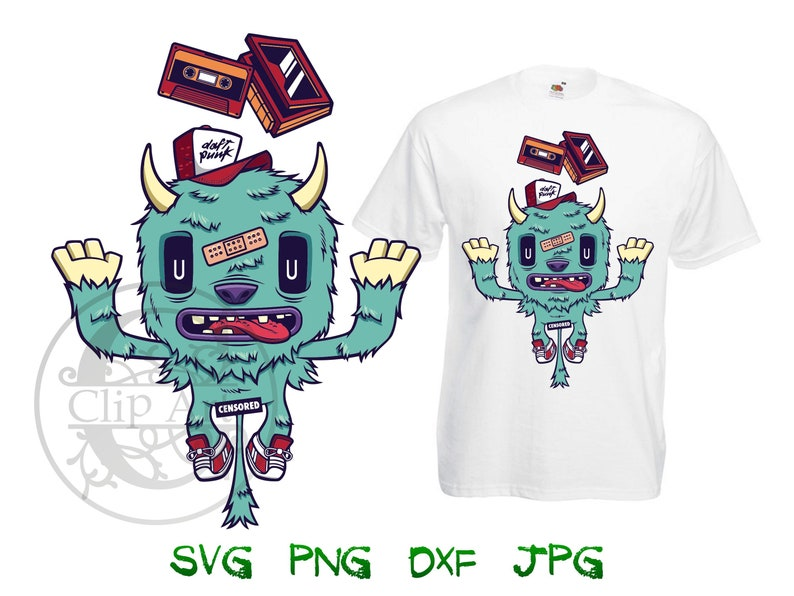 a93a1482443dc Monster Music Lover Clipart Vector T-shirt Design Printable, iron on  transfer for t shirt, sublimation print t shirts instant download SVG