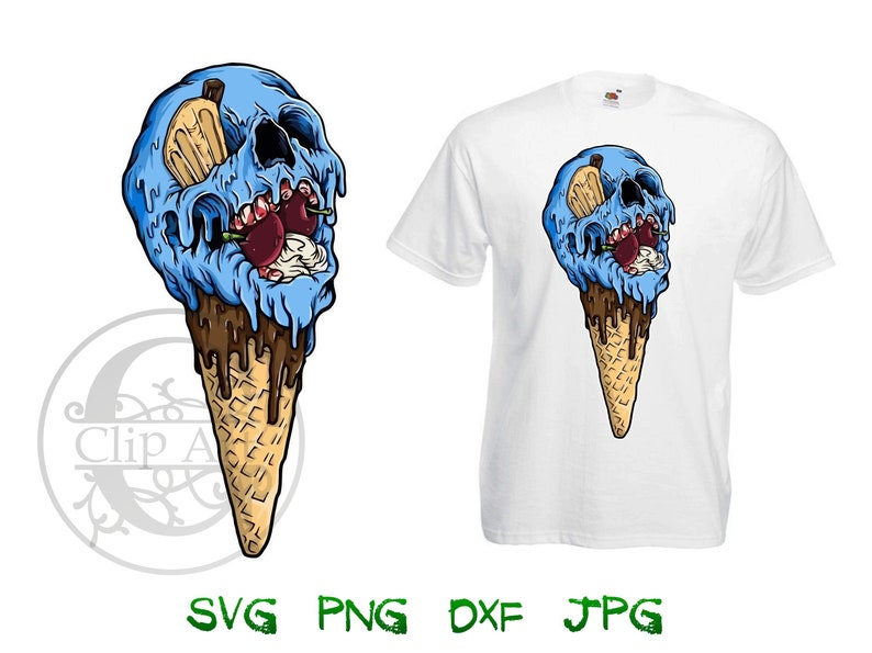14d515b081abd Zombie Ice Cream Clip art Vector T-shirt Design Printable, iron on transfer  for t shirt, sublimation print t shirts instant download SVG PNG