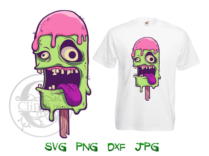 6715384f387a9 Zombie Ice Cream Vector Clipart T-Shirt Design Printable, iron on transfer  for shirts, sublimation print for shirt instant download