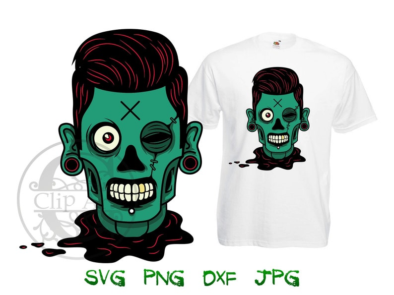 5380c5cd1fa53 Green Zombie Head Clipart Vector T-shirt Design Printable, iron on transfer  for shirt, sublimation print shirts instant download SVG PNG