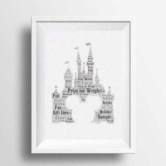 Personalised Disney castle Engagement Word Art Gift Wedding Engagement print